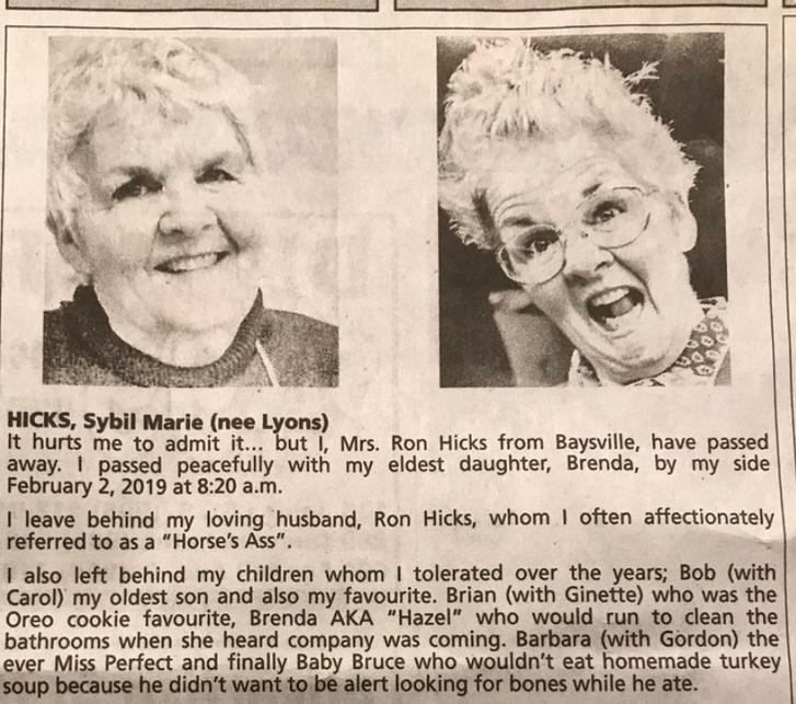 Фото №1 - Женщина перед смертью написала сама себе смешной некролог