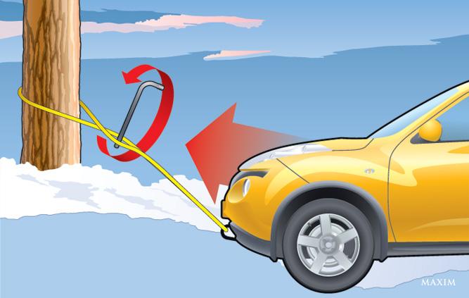 Вытягивание автомобиля за дерево