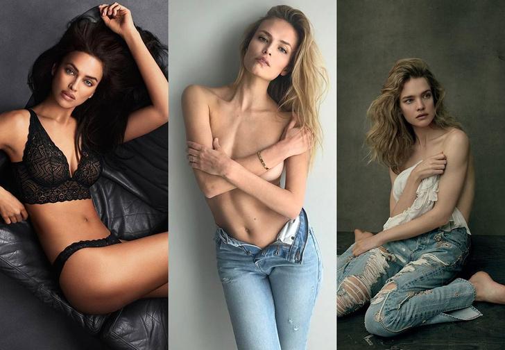 Фото №1 - Наталья Водянова, Ирина Шейк и Наташа Поли сфотографировались топлес в шарфах болельщиков