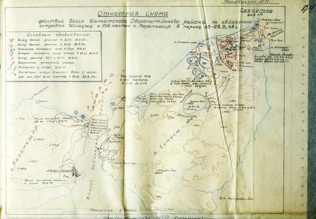 Схема боевых действий на Шумшу и Парамушире