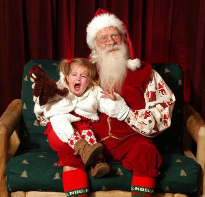 Девочка и Санта-Клаус - фотография
