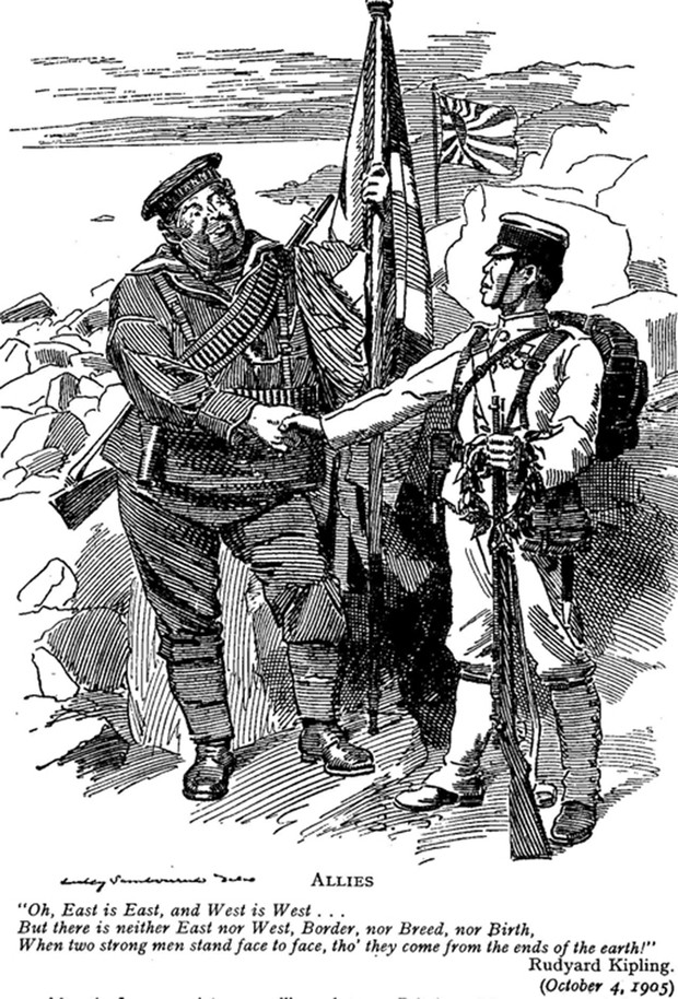 Иллюстрация из журнала «Панч», демонстрирующая союзнические отношения Британии и Японии