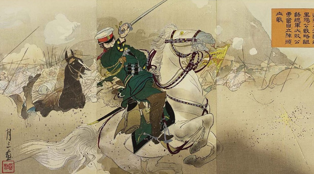 Японская гравюра, посвященная сражению при Ляоляне