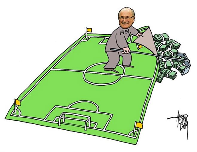 Фото №4 - Пенальти разных широт: коррупция ФИФА глазами иностранных карикатуристов