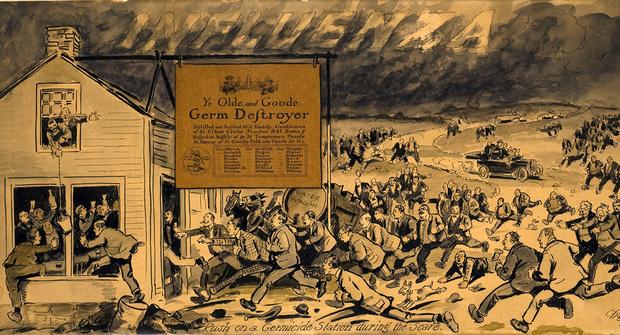 Все бегут за лекарством. Карикатура, 1919 год