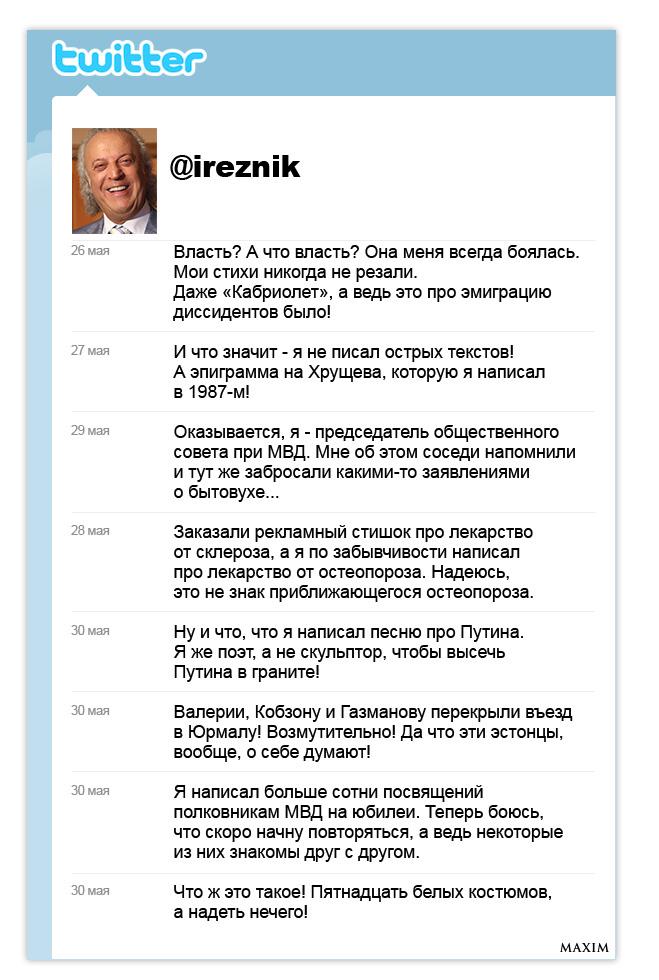 Рабочий стол поэта-песенника Ильи Резника. Twitter