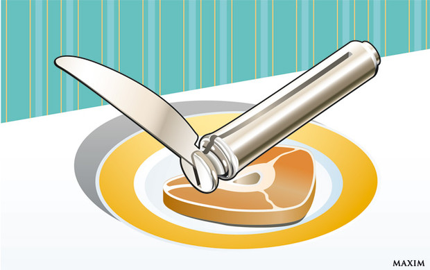 Мельхиоровый выкидной столовый нож