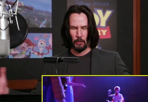 Фото №1 - В Сети появилось видео, как Киану Ривз озвучивает одного из персонажей «Истории игрушек — 4»