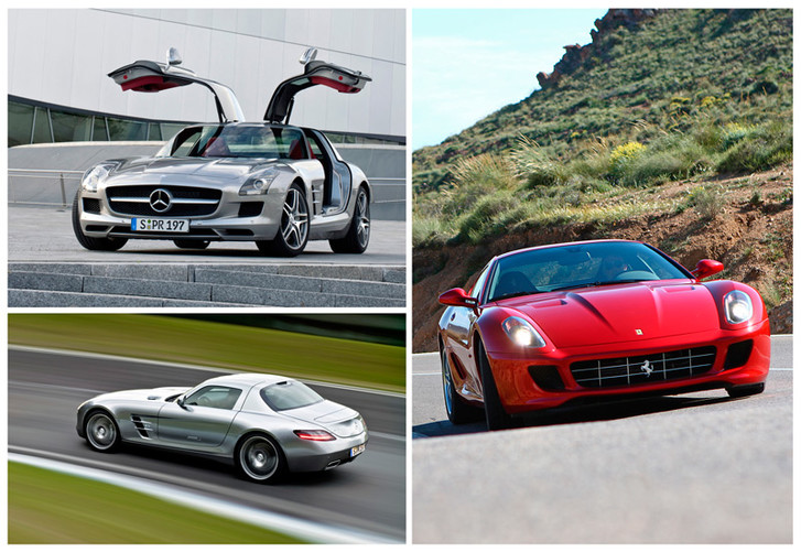Слева — стандартный Mercedes-Benz SLS AMG, справа — Ferrari 599 GTB Fiorano, от которого взяли фары