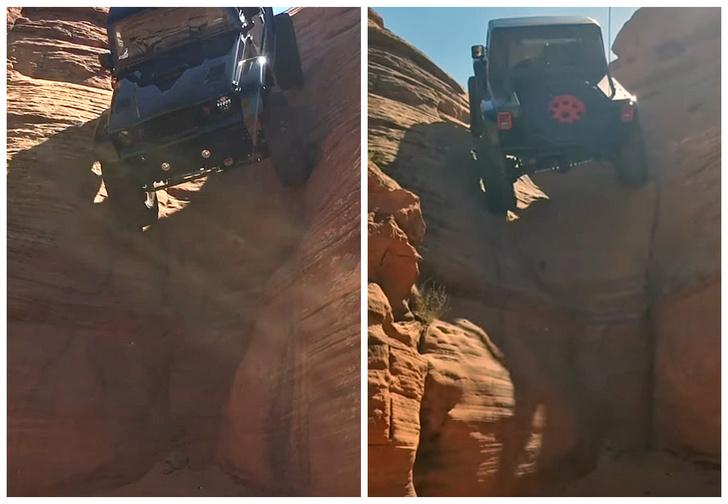 Фото №1 - Смотри, как джип сползает по отвесной стене, а потом забирается обратно
