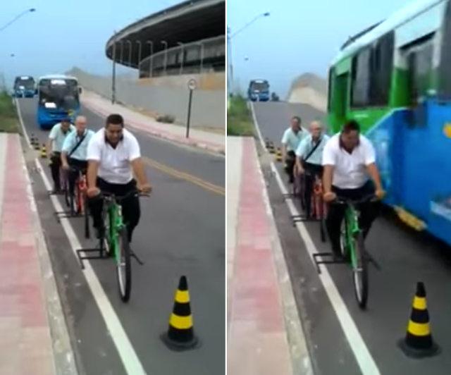 Фото №1 - Бразильских водителей автобусов заставляют почувствовать себя в шкуре велосипедистов (видео)