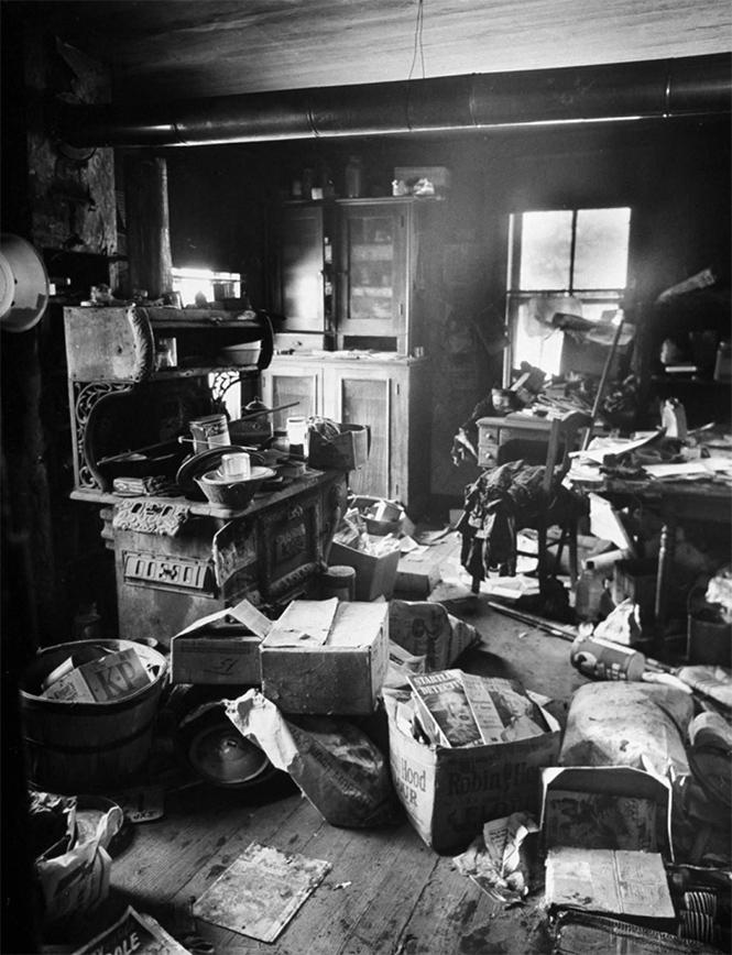 Жилище Эда Гина, в котором при обыске было найдено огромное число расчлененных тел, 1957 год