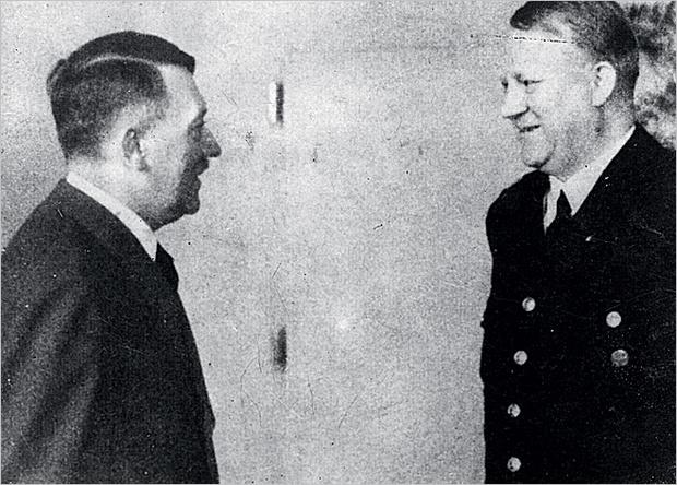 Гитлер и глава пронацистского правительства Норвегии Видкун Квислинг