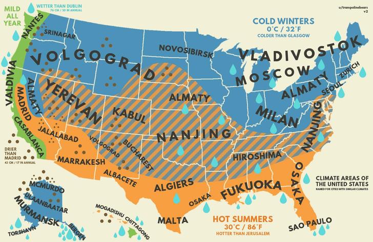 Фото №1 - Карта климатических соответствий США и России