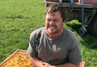 Безбашенный пчеловод на спор сел голым задом в улей (ВИДЕО)