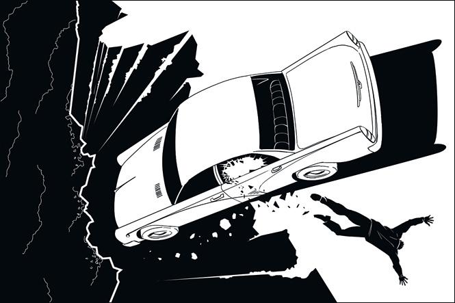 Машина повисла на краю пропасти