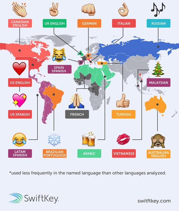 Фото №4 - Определены самые популярные эмодзи в разных языках мира