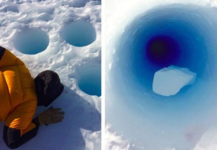Фото №1 - Ученые бросили в 90-метровую скважину кусок льда, чтобы послушать, с каким звуком он упадет. ВИДЕО