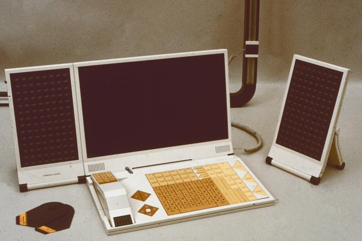 На клавиатуре — телефонная трубка; монитор и акустика — плоские; внешние носители данных напоминают дискеты, но движущихся частей ни в них, ни в считывателе нет