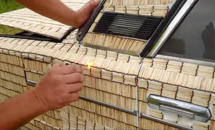Фото №1 - Что будет, если обклеить автомобиль 500 000 спичек и поджечь? (видео)