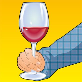 Держать винный бокал