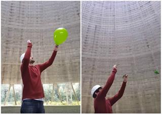 Парень лопает воздушный шар в градирне заброшенной атомной станции (видео со звуком)