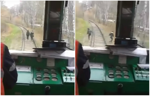 Фото №1 - Машинист неожиданно дал гудок, чтобы напугать идущих по рельсам девушек! Их реакция — на ВИДЕО