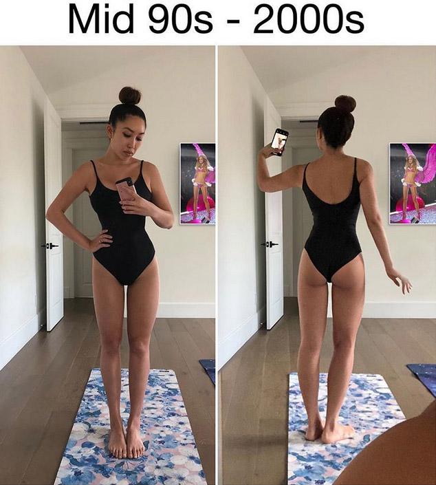 Фото №6 - Фитнес-блогерша наглядно показала, как менялись стандарты женской красоты