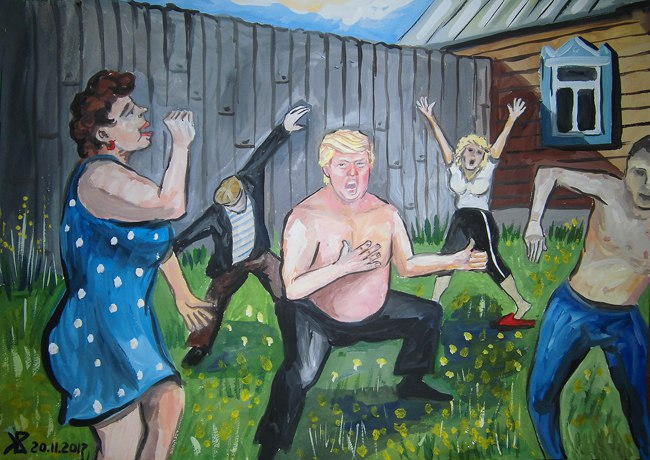 Фото №1 - Если бы Трамп жил в России: психоделическая серия душевных картин ульяновского художника