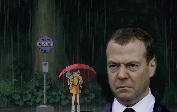 Фото №2 - Избранные шутки о грустном Медведеве под дождем
