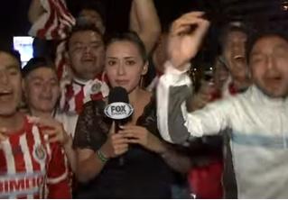 Перевозбужденный фанат пощупал журналистку в прямом эфире, и она отмутузила его микрофоном! ВИДЕО