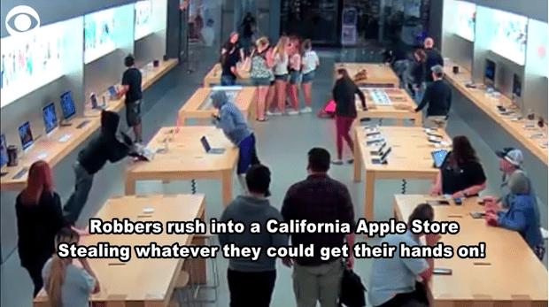 Фото №1 - Подростки ограбили Apple Store на 27 000 долларов всего за полминуты (ВИДЕО)