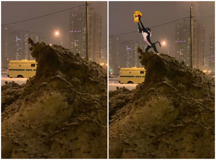 Фото №1 - Питерский сугроб превратился в героя фотожаб
