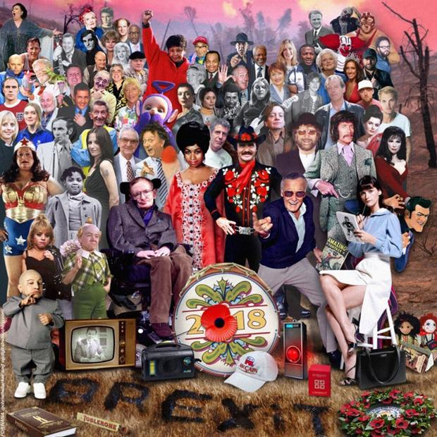 Фото №1 - Художник изобразил всех знаменитостей, умерших в 2018 году, в стиле обложки «Сержанта Пеппера»