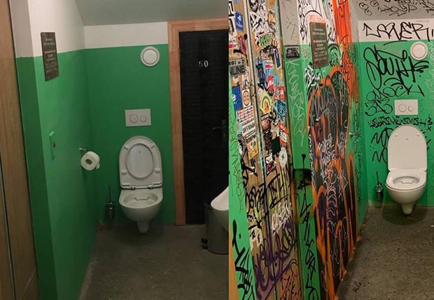 Фото №1 - В новороссийском баре туалет оформили в виде обычного старого подъезда, и вот что из этого вышло (фото до и после)