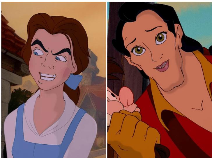 Фото №3 - Вот как выглядят диснеевские герои и злодеи, если их лица поменять местами