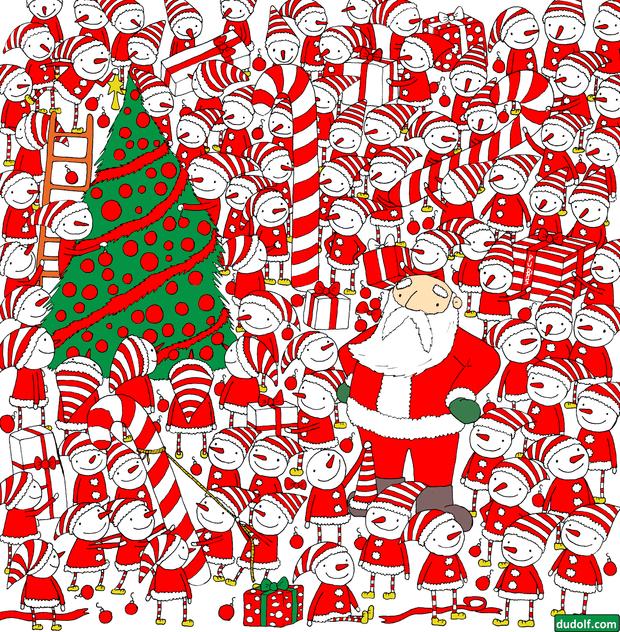 Фото №2 - Новогодняя головоломка: найди колпак Деда Мороза на этой картинке, спаси праздник