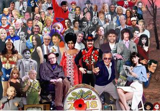 Художник изобразил всех знаменитостей, умерших в 2018 году, в стиле обложки «Сержанта Пеппера»