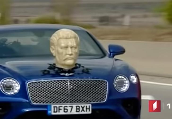 Фото №1 - Кларксон ездит на Bentley c гипсовой головой Сталина: видео со съемок нового сезона Grand Tour