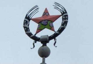 В Воронеже звезду на здании покрасили в персонажа из «Губки Боба»!