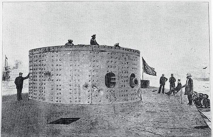 Башня «Монитора» после боя. Рисунок по фото