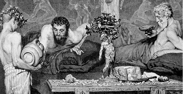 Римский юноша-раб, обносящий  пирующих вином. Гравюра 1887 года