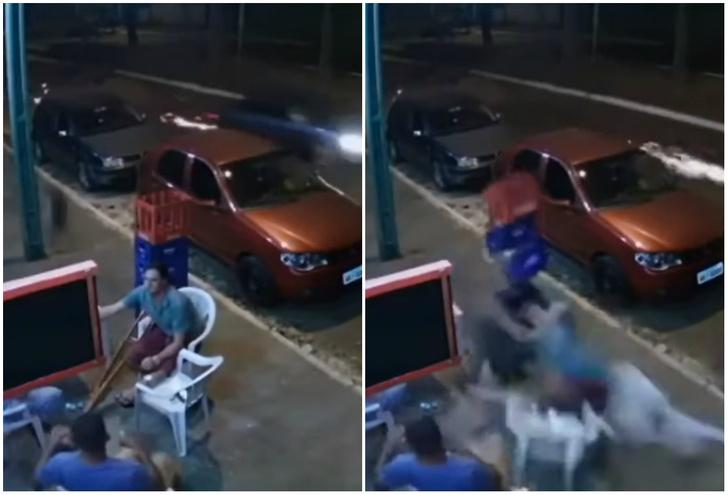 Фото №1 - Мужика, сидевшего на стуле, сбило отлетевшее от машины колесо (видео)