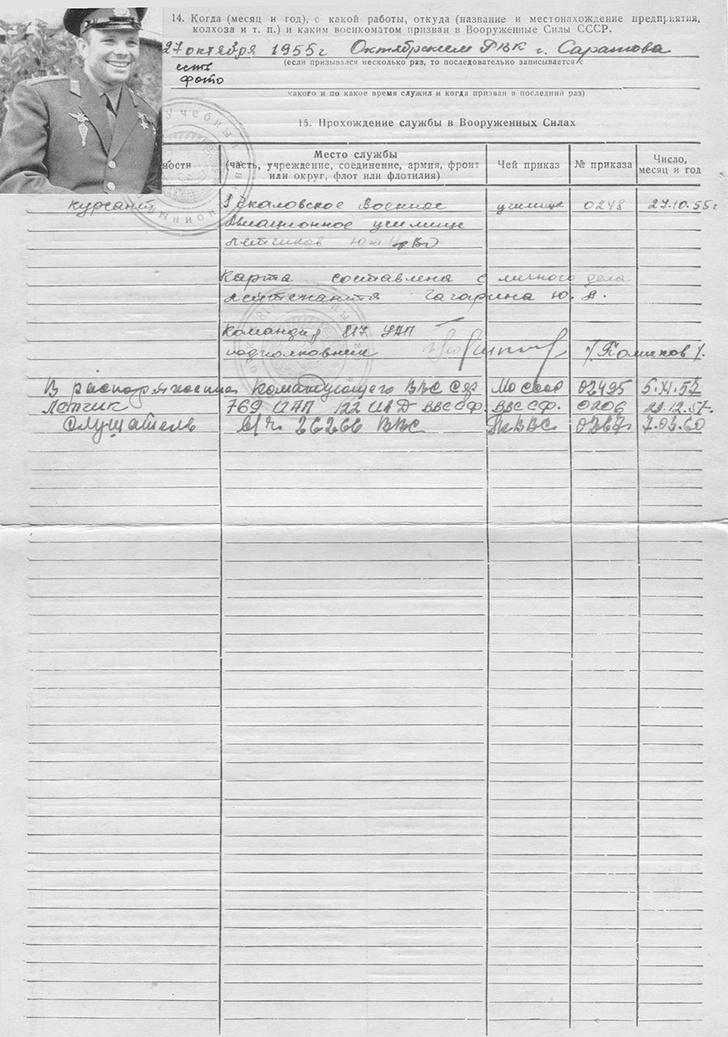 Фото №4 - «Обладает хорошей координацией движений. Умеет хранить военную тайну»: Минобороны опубликовало рассекреченные документы про Гагарина!