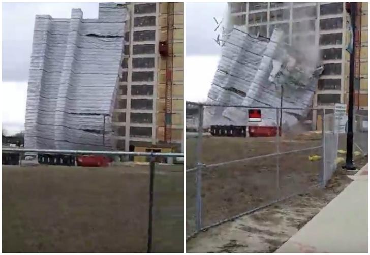 Фото №1 - Ветер сдул строительные леса с высотного дома! Сбивающее с ног ВИДЕО