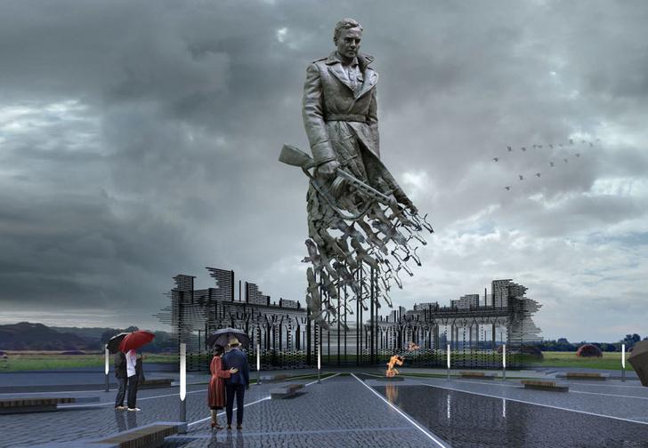 Фото №1 - Вот такой мощный памятник советскому солдату поставили подо Ржевом