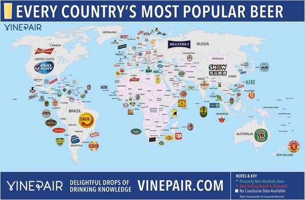 Самые популярные сорта пива по странам