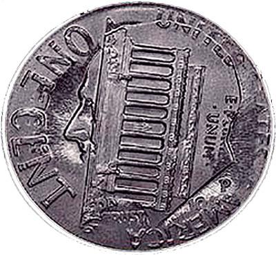 Цент, отпечатанный поверх десятицентовой монетки