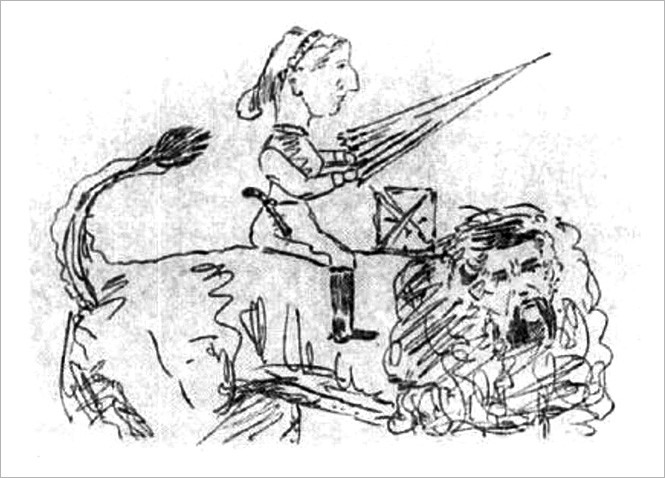 Карикатура Бертона: Изабель едет на льве с лицом Ричарда