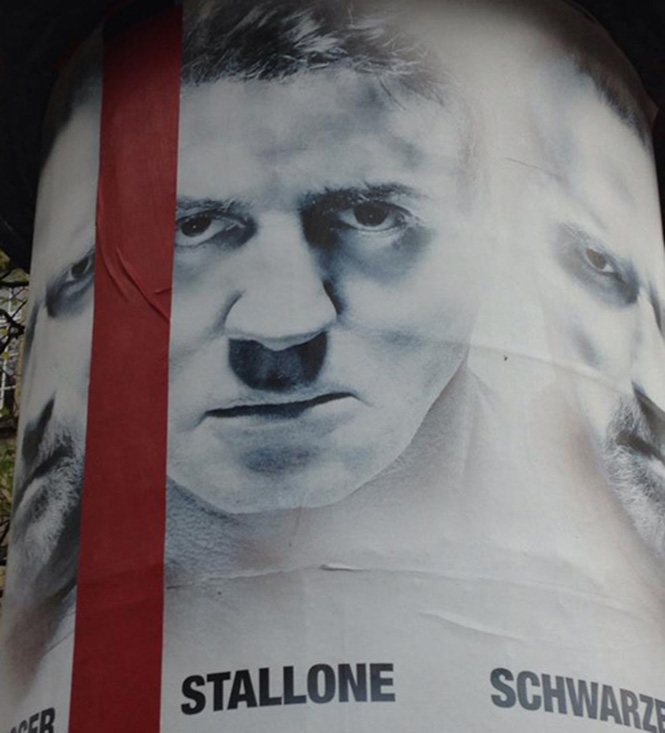Сильвестр Сталлоне на постере фильма «Неудержимые»